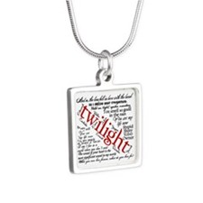 Twilight quotes Silver Square Necklace