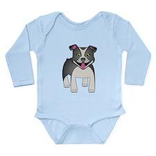 Black Pit Bull Long Sleeve Infant Bodysuit