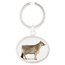 Brown Swiss Cow Oval Keychain