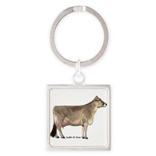 Brown Swiss Cow Square Keychain