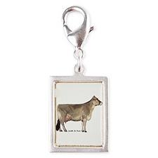 Brown Swiss Cow Silver Portrait Charm