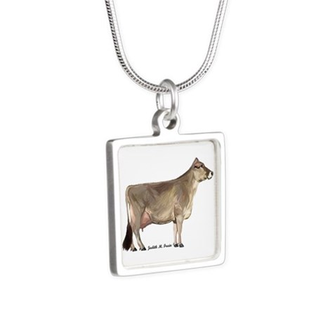 Brown Swiss Cow Silver Square Necklace