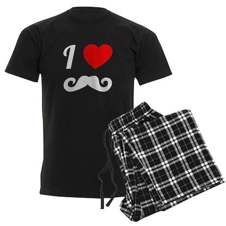 I Love Mustache Men's Dark Pajamas