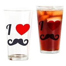 I Love Mustache Drinking Glass