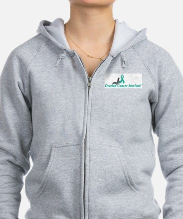 Funny Ovarian cancer teal ribbon Zip Hoodie