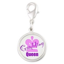 Gambling Queen Silver Round Charm