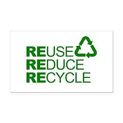 Reduce Reuse Reycle Rectangle Car Magnet