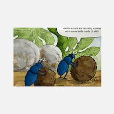 dung beetles cartoon Rectangle Magnet