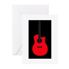 Red Guitar Greeting Cards (Pk of 20)