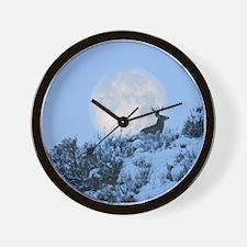 Buck deer moon Wall Clock