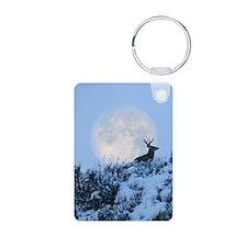 Buck deer moon Aluminum Photo Keychain