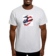 American Flag Emblem Ash Grey T-Shirt
