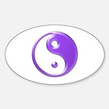 Shiny Purple Yin Yang Symbol Sticker (Oval)