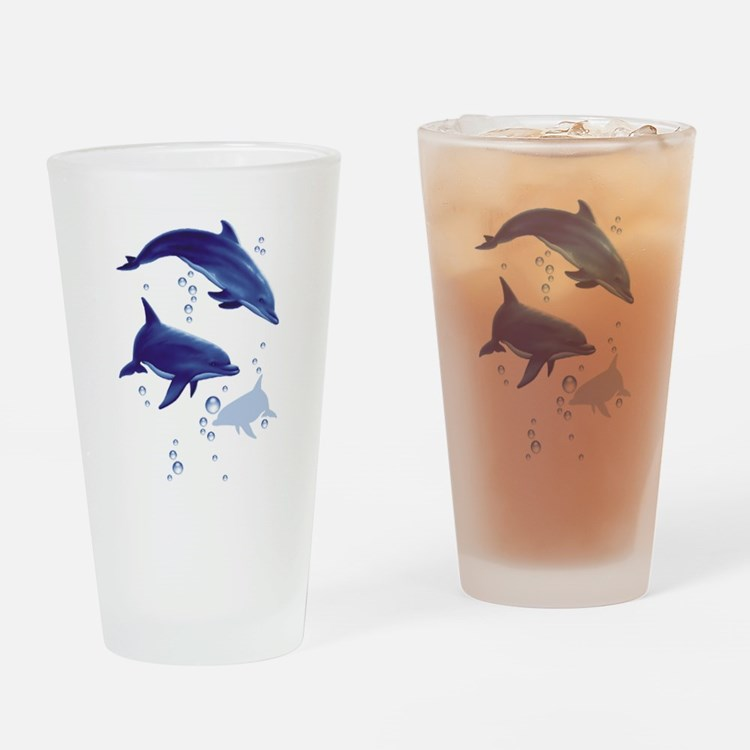 Cute Dolphins Drinking Glass