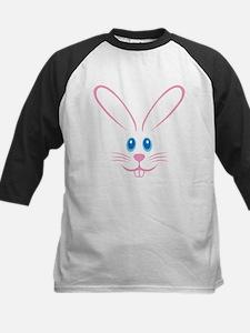 Pink Bunny Face Kids Baseball Jersey