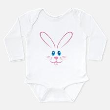 Pink Bunny Face Long Sleeve Infant Bodysuit