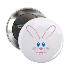 "Pink Bunny Face 2.25"" Button"