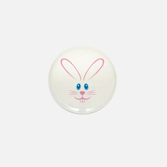 Pink Bunny Face Mini Button