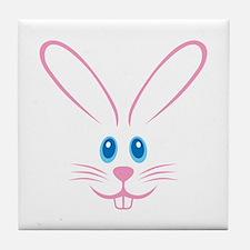 Pink Bunny Face Tile Coaster