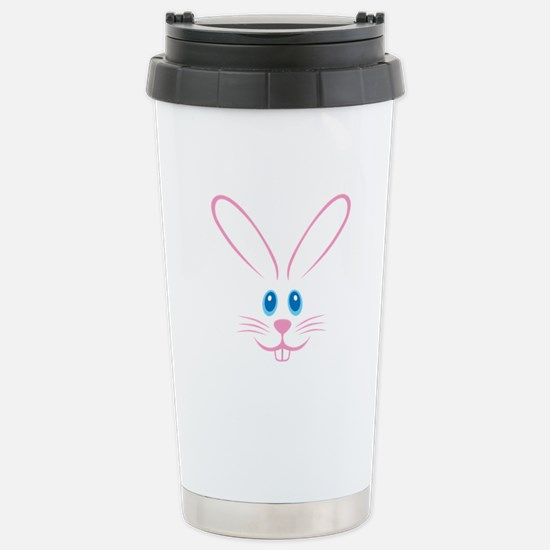 Pink Bunny Face Stainless Steel Travel Mug
