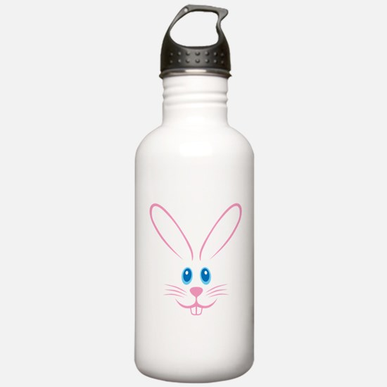 Pink Bunny Face Sports Water Bottle