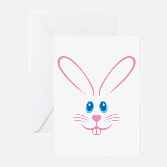 Pink Bunny Face Greeting Cards (Pk of 10)