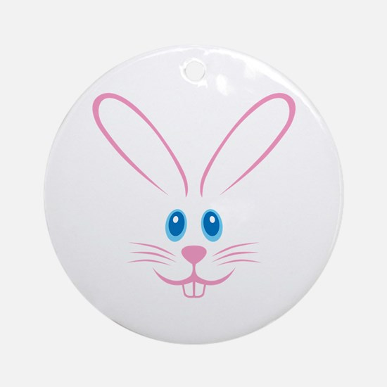 Pink Bunny Face Ornament (Round)