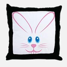 Pink Bunny Face Throw Pillow