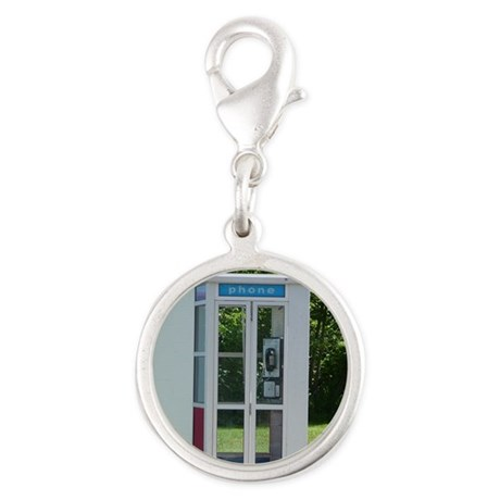 Phone Booth Silver Round Charm