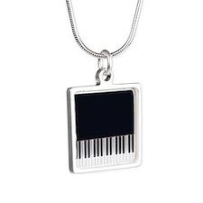 Piano Keys Design 3 Silver Square Necklace