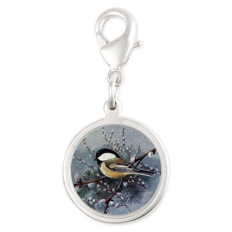 Chickadee Silver Round Charm