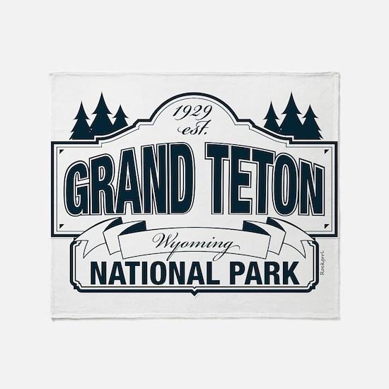 Grand Teton Blue Sign Throw Blanket