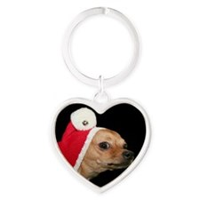 Christmas chihuahua dog Heart Keychain