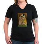TheKiss-Golden (K) Women's V-Neck Dark T-Shirt