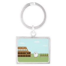 Vendor in Rome Landscape Keychain