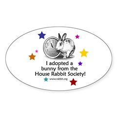 I adopted a bunny! Oval Sticker