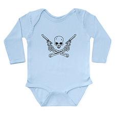 Skull and Bones with Guns Long Sleeve Infant Bodys
