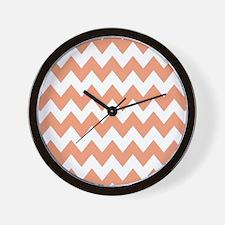 Peach and White Chevron Wall Clock