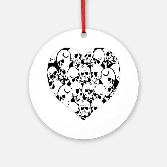 Skulls Heart Black Ornament (Round)