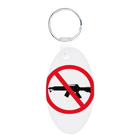 Ban Assault Weapons Aluminum Oval Keychain