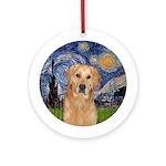 Starry Night Golden Retriever (K) Ornament (Round)