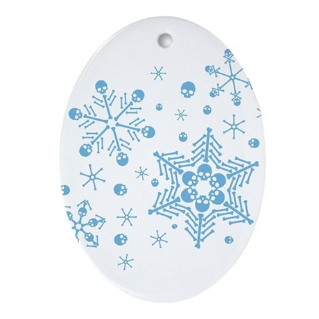 skull-snowflakes_bu.png Ornament (Oval)