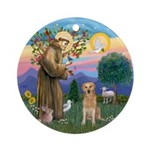 StFrancis-Golden (K) Ornament (Round)
