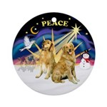 X-Sunrise-Peace-Two Goldens Ornament (Round)