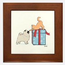 Keesie Puppy with Kitten Framed Tile