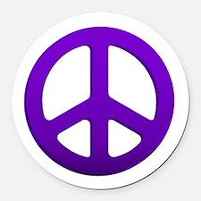 Purple Fade Peace Sign Round Car Magnet