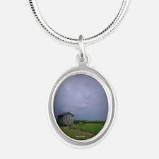 Sugarcane Field Silver Oval Necklace
