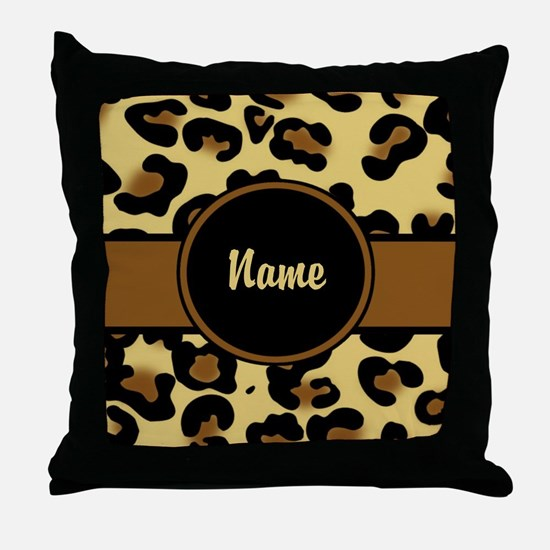 Leopard Print Personalized Throw Pillow