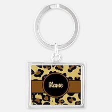 Leopard Print Personalized Landscape Keychain