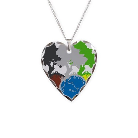 OYOOS Trees Earth design Necklace Heart Charm